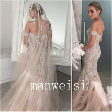 Long Mermaid Wedding Dresses Off-Shoulder Bridal Gowns Crystals Bead Custom Size