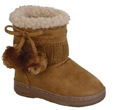 New Girls Infant - Kids Two Balls Comf Midcalf Suede Boots Shoes / TPR Sole