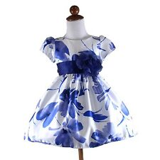 NEW Flower Girls Dress Blue Floral Patterned Tried Bow Formal Dresses Size 1-12