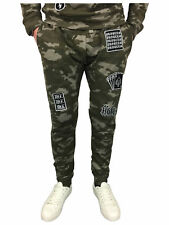 King Kouture Camo Badges Slim Fit Joggers in Khaki Camouflage S