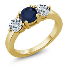 2.00 Ct Round Blue Sapphire White Topaz 18K Yellow Gold Plated Silver Ring