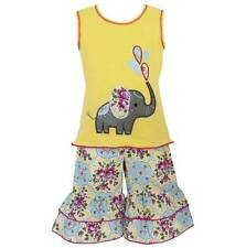 AnnLoren Girls Boutique Yellow Elephant Floral Tunic and Capri 2/3T or 4/5T
