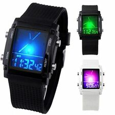 LED Backlight Digital LCD Dual Time Date Day Wrist Watch Stopwatch Silicone