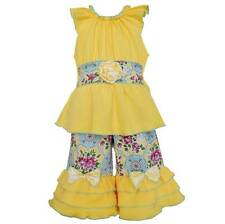 AnnLoren Girls Yellow Cotton Tunic & Floral Damask Capri Set 12-18 or 24 Months