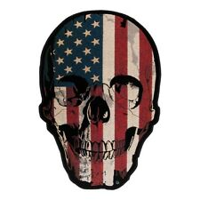 American Flag Distressed Skull Patch, Back Patches