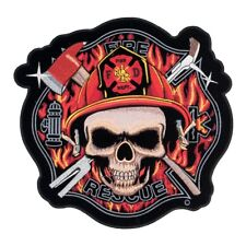 Fire Rescue Skull Maltese Cross Patch, Firefighter Patches