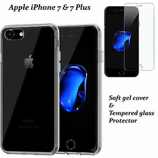 CLEAR TPU GEL CASE + TEMPERED GLASS PROTECTOR FOR APPLE IPHONE 7 5 6 6S 6+