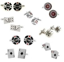 Playing Card Gambling Casino Poker Chip Dice Cufflinks  - 5 Variations