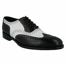 SLOANE MENS LOAKE BLACK AND WHITE TRADITIONAL FULL BROGUE SMART LEATHER SHOES