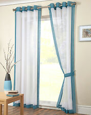 Modern Teal Blue Eyelet Voile Panel - Ready Made Ring Top Plain Net Curtain
