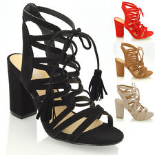 New Womens Block Heel Open Back Strappy Sandals Ladies Tie Up Lace Party Shoes