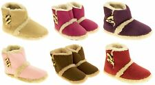 Ladies COOLERS Warm Winter Faux  Fur Lined Toggle Slipper Boots Size 3-8