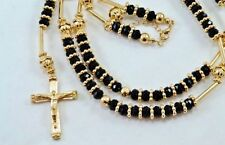 HIP HOP High Quality BLACK GOLD Jesus Cross Rosary Beaded Long Fashion Necklace