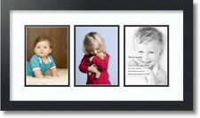 """ArtToFrames Collage Mat Picture Photo Frame - 3 5x7"""" Openings in Satin Black 24"""