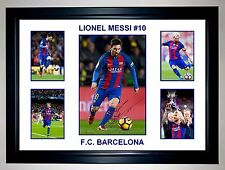 LIONEL MESSI 2017 BARCELONA 5 PHOTO COLLAGE SIGNED PHOTO PRINT OR FRAMED