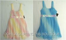 Girls Easter Dress Yellow & Pink or Two-Tone Blue Diagonal Sparkle NWT U CHOOSE!
