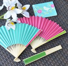 36 Personalized Colored Paper Hand Fan Beach Spring Outdoor Wedding Favor