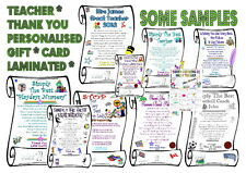 """Thank You / Xmas Gift Card Scroll Personalised Teacher  Laminated A5   6""""x8 1/2"""""""