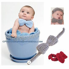 Baby bow tie You Pick Color Handmade crocheted, newborn photo prop, costume USA