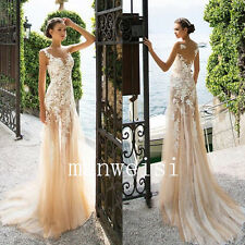 Champagne Mermaid Wedding Dresses Lace Applique Bridal Gowns Custom Backless
