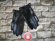 WOMENS BLACK AND  BLUE LEATHER  DRIVING  GLOVES  SIZE 7, 7.5, 8,8.5