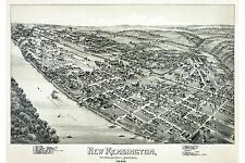 Large Poster New Kensington Westmoreland County, PA Antique Map Fowler 1896