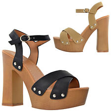 Womens Platform Sandals Ankle Strap Studded Wood Chunky High Heel Shoes Taupe