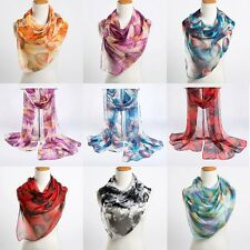 Fashion Leaves Printing Long Scarf Women Silk Scarves Spring Winter Girls Shawl