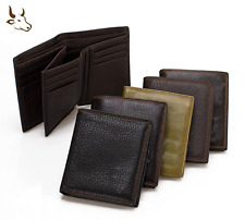 New Mens Genuine Cowhide Leather Bifold Wallet ID Credit Card Holder Short Purse
