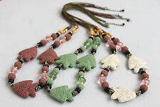 Statement Necklace-Long Lava Fish Glass Crystal, Wood and Tibetan Silver Beads
