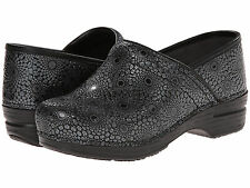 Dansko PRO XP MEDALLION PATENT Womens Black Leather Slip Resistant Clogs Shoes