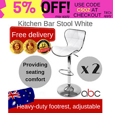 2 x Deluxe PU Leather Bar Stool Kitchen Chair Gas Lift Swivel - White/ Black