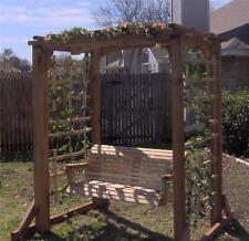 NEW ALL CEDAR GARDEN ARBOR & 4 FT PORCH SWING STAND HEAVY DUTY CHAIN & SPRINGS