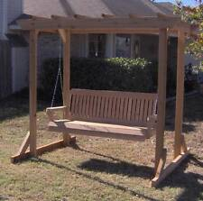NEW ALL CEDAR GARDEN ARBOR & 5 FOOT PORCH SWING STAND HEAVY DUTY HANGING ROPE
