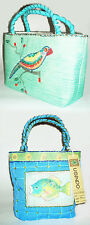 USINDO Handcrafted Green Drawstring Purse and Small Blue Beaded Handbag