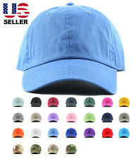 Plain Stonewashed Cotton Adjustable Hat Low Profile Baseball Cap.