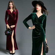 Women Slim Velvet Ball Prom Gown Cocktail Evening Party Long Elegant Maxi Dress