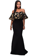 women new Black Gold Sequins Ruffle Strapless Long evening party Cocktail Dress