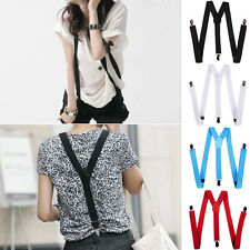 Mens Womens Elastic Clip-on Solid Color Y-Shape Adjustable Braces Suspenders ES