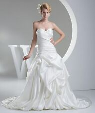 New Ruching Sweetheart A-line White/Ivory Bridal Wedding Dress Custom All Size