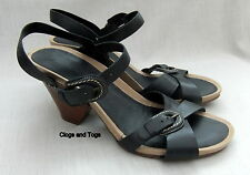 NEW CLARKS STAR SPICE WOMENS BLACK LEATHER SANDALS SIZE 7.5 / 41.5