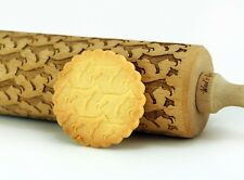Engraved DOG BREEDS rolling pin wooden laser cut unique design cookies embossed