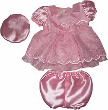 Baby Girls Christening Bridesmaid Satin Party Dress Hat Knickers 0-3 3-6 months