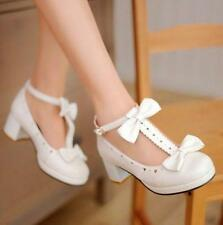 New Womens Mary Janes Lolita Sweet Bow Tie T-Strap Shoes Heart Hole size 4.5-9 ^