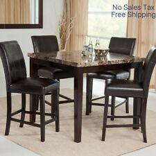 Dining Table Set For 4 Counter Height 5 Piece Room Formal Faux Marble