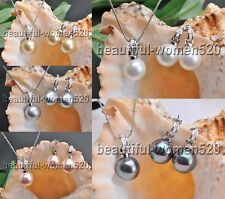 X0109 Set 16mm Round SOUTH SEA SHELL PEARL Inlay Crystal PENDANT Earring