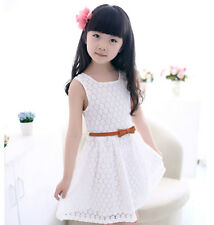 Lace Vest Girls Dress  2-8 Years Children Party Clothing For Girls Free Belt NT