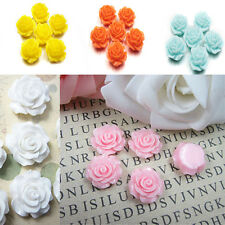 30pcs Colorful Lots Resin Rose Flowers Cabochons Cameo Flat Back 10mm BD