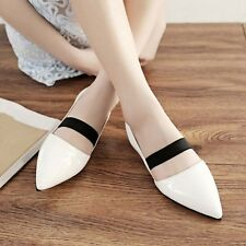 New Womens Patent Leather Pointed Toe Pumps Flats Sandals Slingbacks Shoes US Sz