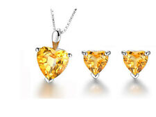 18k White Gold GP Austria Crystal pendant Necklace Earrings stud Topaz Set chain